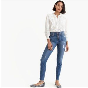 J. Crew 9 High Rise Toothpick Exposed Button Jeans